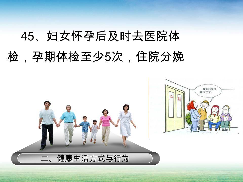二、健康生活方式与行为 45 、妇女怀孕后及时去医院体 检,孕期体检至少 5 次,住院分娩