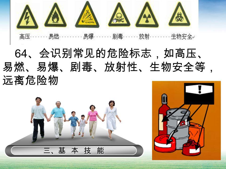 三、基 本 技 能 64 、会识别常见的危险标志,如高压、 易燃、易爆、剧毒、放射性、生物安全等, 远离危险物