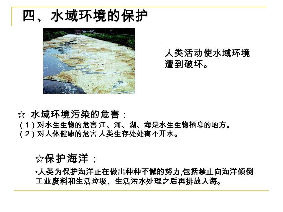 四、水域环境的保护 人类活动使水域环境 遭到破坏。 ☆ 水域环境污染的危害: ( 1 )对水生生物的危害 江、河、湖、海是水生生物栖息的地方。 ( 2 )对人体健康的危害 人类生存处处离不开水。 ☆保护海洋: 人类为保护海洋正在做出种种不懈的努力, 包括禁止向海洋倾倒 工业废料和生活垃圾、生活污水处理之后再排放入海。