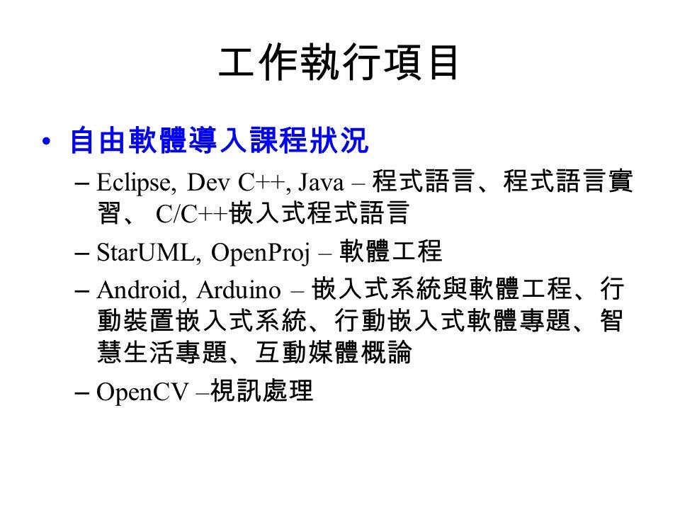 工作執行項目 自由軟體導入課程狀況 – Eclipse, Dev C++, Java – 程式語言、程式語言實 習、 C/C++ 嵌入式程式語言 – StarUML, OpenProj – 軟體工程 – Android, Arduino – 嵌入式系統與軟體工程、行 動裝置嵌入式系統、行動嵌入式軟體專題、智 慧生活專題、互動媒體概論 – OpenCV – 視訊處理