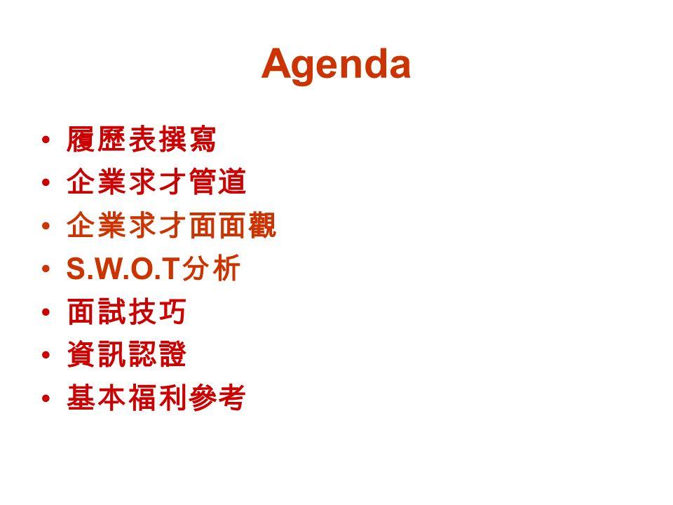 Agenda 履歷表撰寫 企業求才管道 企業求才面面觀 S.W.O.T 分析 面試技巧 資訊認證 基本福利參考