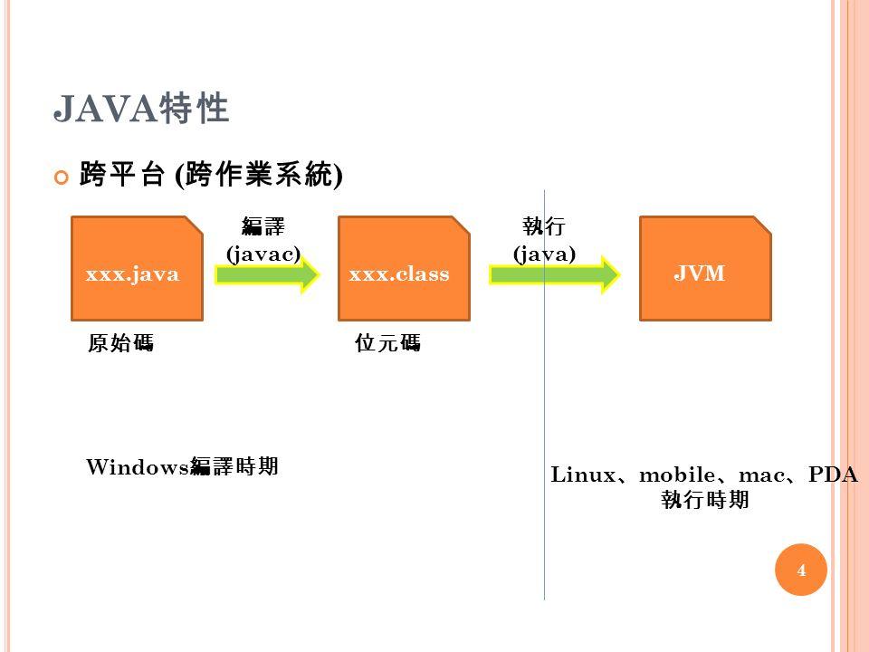 JAVA 特性 跨平台 ( 跨作業系統 ) xxx.javaxxx.classJVM 原始碼 編譯 (javac) 執行 (java) 位元碼 Windows 編譯時期 Linux 、 mobile 、 mac 、 PDA 執行時期 4