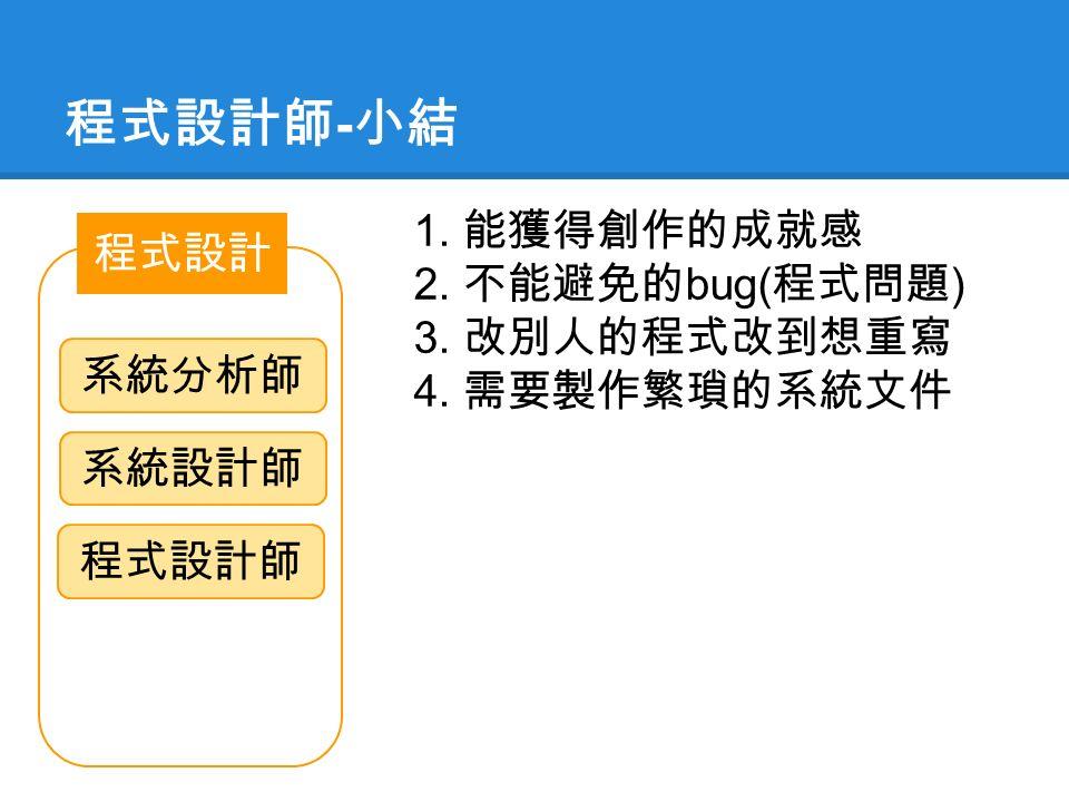 程式設計師 - 小結 程式設計 系統分析師 系統設計師 程式設計師 1. 能獲得創作的成就感 2. 不能避免的 bug( 程式問題 ) 3. 改別人的程式改到想重寫 4. 需要製作繁瑣的系統文件