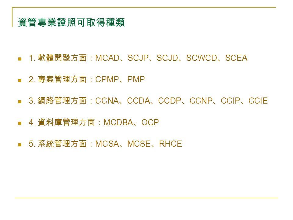 資管專業證照可取得種類 1. 軟體開發方面: MCAD 、 SCJP 、 SCJD 、 SCWCD 、 SCEA 2.