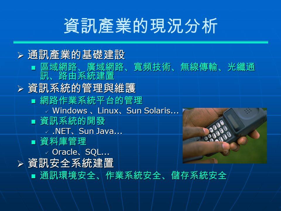 資訊產業的現況分析  通訊產業的基礎建設 區域網路、廣域網路、寬頻技術、無線傳輸、光纖通 訊、路由系統建置 區域網路、廣域網路、寬頻技術、無線傳輸、光纖通 訊、路由系統建置  資訊系統的管理與維護 網路作業系統平台的管理 網路作業系統平台的管理 Windows 、 Linux 、 Sun Solaris...