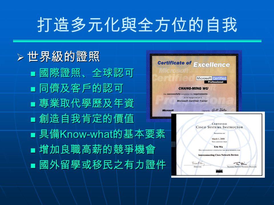 打造多元化與全方位的自我  世界級的證照 國際證照、全球認可 國際證照、全球認可 同儕及客戶的認可 同儕及客戶的認可 專業取代學歷及年資 專業取代學歷及年資 創造自我肯定的價值 創造自我肯定的價值 具備 Know-what 的基本要素 具備 Know-what 的基本要素 增加良職高薪的競爭機會 增加良職高薪的競爭機會 國外留學或移民之有力證件 國外留學或移民之有力證件