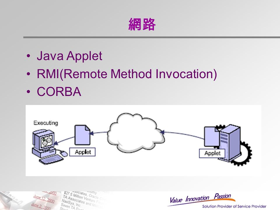 網路 Java Applet RMI(Remote Method Invocation) CORBA