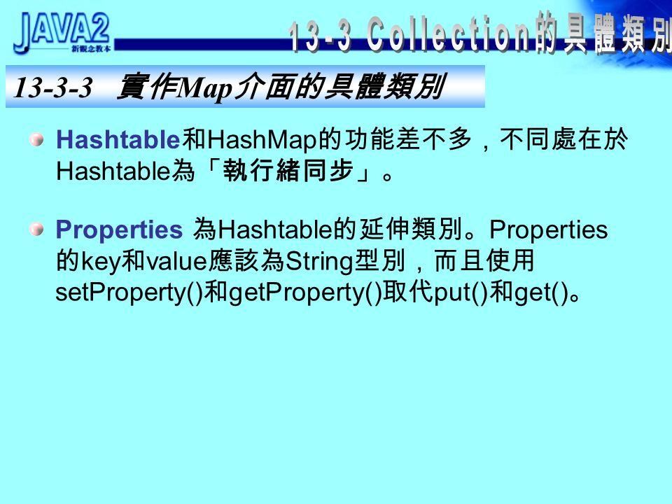 13-3-3 實作 Map 介面的具體類別 HashMap 使用 hash table 實作 Map ,此集合中 key- value pairs 順序和放入的順序無關,而且 key 無法重 複。 LinkedHashMap 使用 hash table 和 linked list 實作 Map ,此集合中 key-value pairs 順序就是放入的順 序,而 key 同樣無法重複。 TreeMap 使用 tree 實作 Map ,此集合中 key-value pairs 順序是依照 key 在集合中的排序而定,而 key 同樣無法重複。