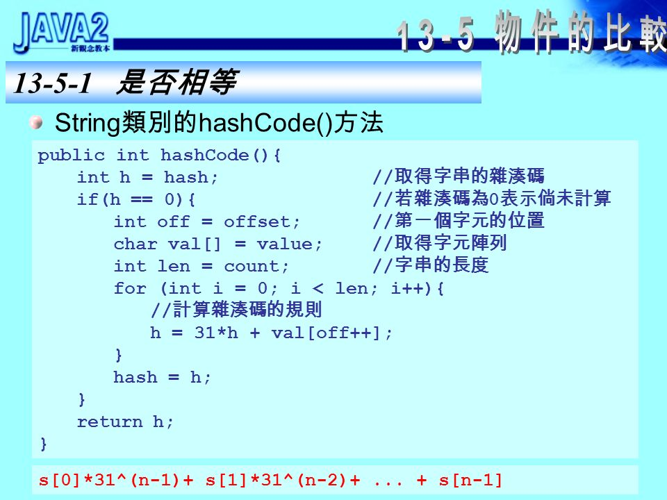 String 類別的 equals() 方法 public boolean equals(Object anObject){ if (this == anObject){ return true;// 參照相同 } if (anObject instanceof String){ String anotherString = (String)anObject; int n = count;// 字串長度 if (n == anotherString.count){ char v1[] = value;// 字元陣列 char v2[] = anotherString.value; int i = offset;// 第一字元的位置 int j = anotherString.offset; while (n-- != 0){ if (v1[i++] != v2[j++]) return false;// 有任何字元不同 } return true;// 所有字元都相同 } return false;// 不是 String 型別 }