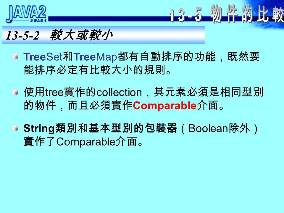 13-5-1 是否相等 自訂類別的 equals() 和 hashCode() 定義 equals() 時,可以一一比對各個屬性是否相等。 屬性大多為現成的類別或基本資料型別,因此,就 可以使用現成的類別的 equals() 方法。 定義 hashCode() 時,只要將屬性的雜湊碼相互做 位元互斥( XOR , ^ )運算即可。