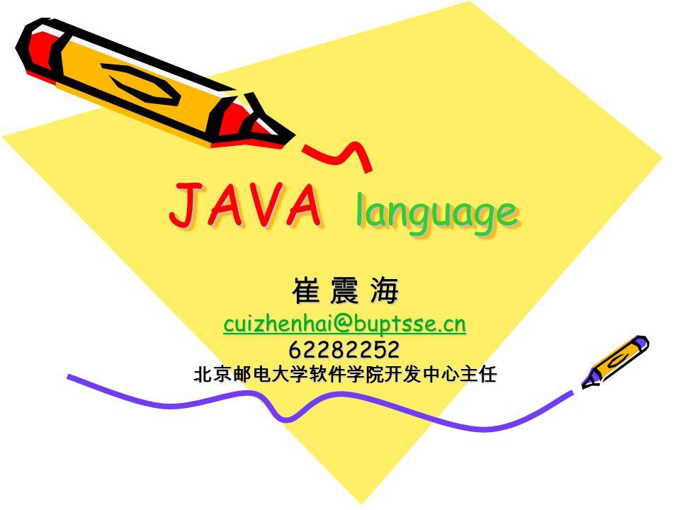 JAVA language 崔 震 海 cuizhenhai@buptsse.cn cuizhenhai@buptsse.cn 62282252 北京邮电大学软件学院开发中心主任