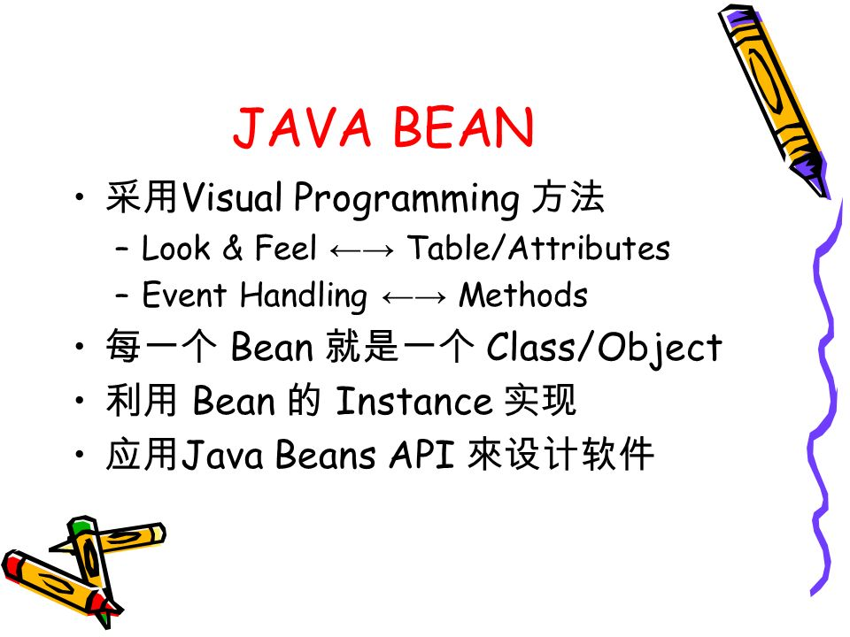 JAVA BEAN 采用 Visual Programming 方法 –Look & Feel ←→ Table/Attributes –Event Handling ←→ Methods 每一个 Bean 就是一个 Class/Object 利用 Bean 的 Instance 实现 应用 Java Beans API 來设计软件