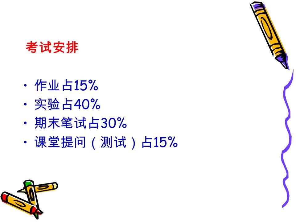 考试安排 作业占 15% 实验占 40% 期末笔试占 30% 课堂提问(测试)占 15%