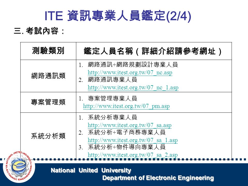 National United University National United University Department of Electronic Engineering Department of Electronic Engineering 三.考試內容: ITE 資訊專業人員鑑定 (2/4) 測驗類別 鑑定人員名稱(詳細介紹請參考網址) 網路通訊類 1.