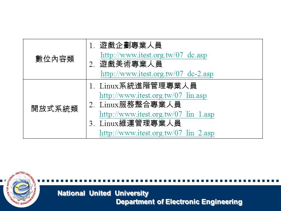 National United University National United University Department of Electronic Engineering Department of Electronic Engineering 數位內容類 1.