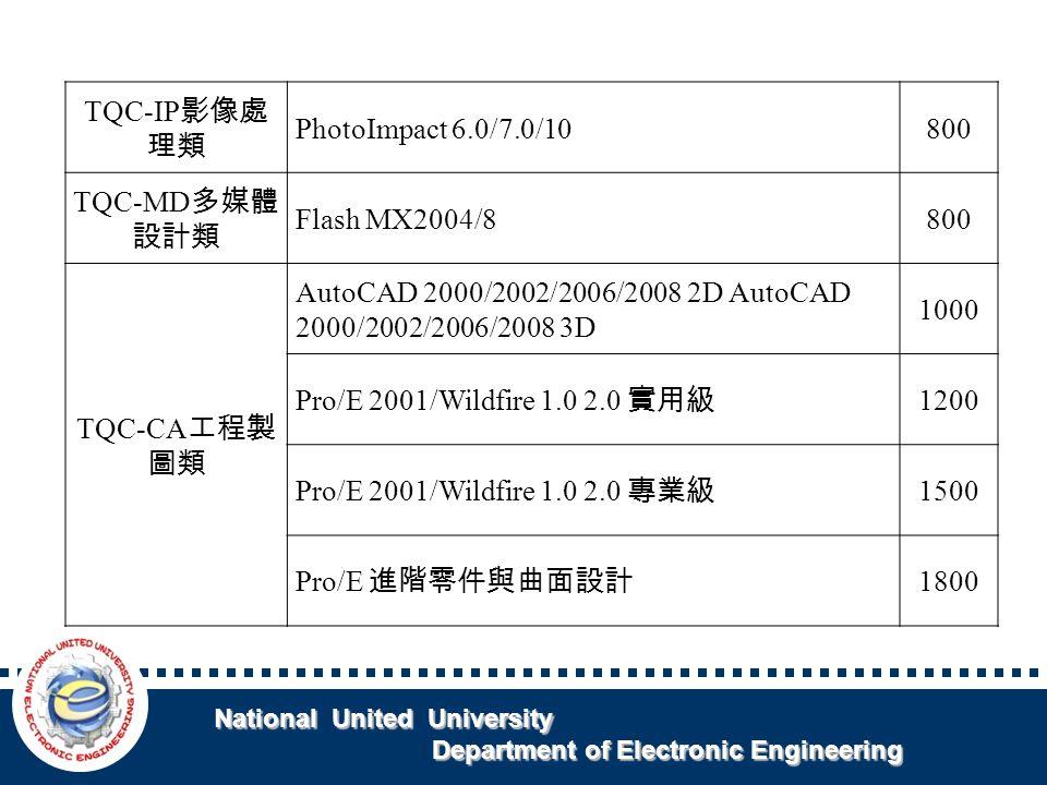 National United University National United University Department of Electronic Engineering Department of Electronic Engineering TQC-IP 影像處 理類 PhotoImpact 6.0/7.0/10800 TQC-MD 多媒體 設計類 Flash MX2004/8800 TQC-CA 工程製 圖類 AutoCAD 2000/2002/2006/2008 2D AutoCAD 2000/2002/2006/2008 3D 1000 Pro/E 2001/Wildfire 1.0 2.0 實用級 1200 Pro/E 2001/Wildfire 1.0 2.0 專業級 1500 Pro/E 進階零件與曲面設計 1800