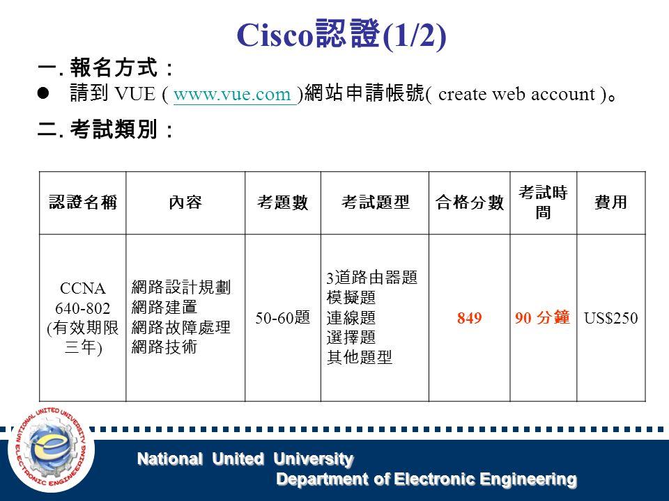 National United University National United University Department of Electronic Engineering Department of Electronic Engineering Cisco 認證 (1/2) 一.報名方式: 請到 VUE ( www.vue.com ) 網站申請帳號 ( create web account ) 。www.vue.com 二.考試類別: 認證名稱內容考題數考試題型合格分數 考試時 間 費用 CCNA 640-802 ( 有效期限 三年 ) 網路設計規劃 網路建置 網路故障處理 網路技術 50-60 題 3 道路由器題 模擬題 連線題 選擇題 其他題型 849 90 分鐘 US$250