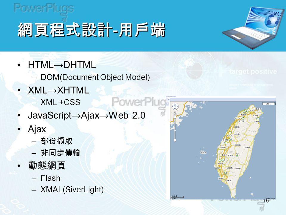 15 網頁程式設計 - 用戶端 HTML→DHTML –DOM(Document Object Model) XML→XHTML –XML +CSS JavaScript→Ajax→Web 2.0 Ajax – 部份擷取 – 非同步傳輸 動態網頁 –Flash –XMAL(SiverLight)