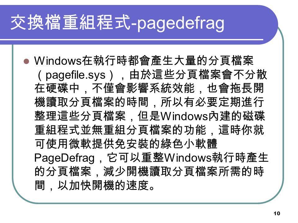 10 交換檔重組程式 -pagedefrag Windows 在執行時都會產生大量的分頁檔案 ( pagefile.sys ),由於這些分頁檔案會不分散 在硬碟中,不僅會影響系統效能,也會拖長開 機讀取分頁檔案的時間,所以有必要定期進行 整理這些分頁檔案,但是 Windows 內建的磁碟 重組程式並無重組分頁檔案的功能,這時你就 可使用微軟提供免安裝的綠色小軟體 PageDefrag ,它可以重整 Windows 執行時產生 的分頁檔案,減少開機讀取分頁檔案所需的時 間,以加快開機的速度。