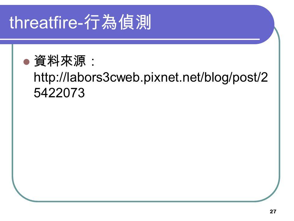 27 threatfire- 行為偵測 資料來源: http://labors3cweb.pixnet.net/blog/post/2 5422073