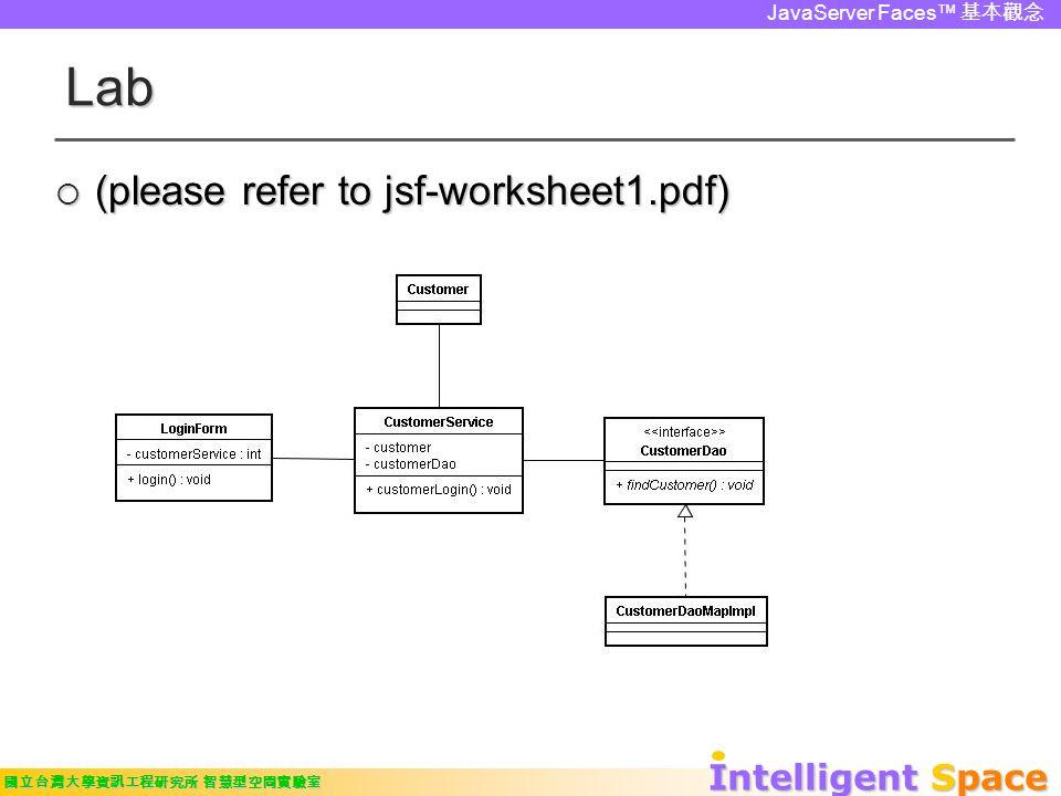 Intelligent Space 國立台灣大學資訊工程研究所 智慧型空間實驗室 JavaServer Faces™ 基本觀念 Lab  (please refer to jsf-worksheet1.pdf)