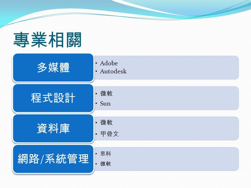 專業相關 Adobe Autodesk 多媒體 微軟 Sun 程式設計 微軟 甲骨文 資料庫 思科 微軟 網路 / 系統管理