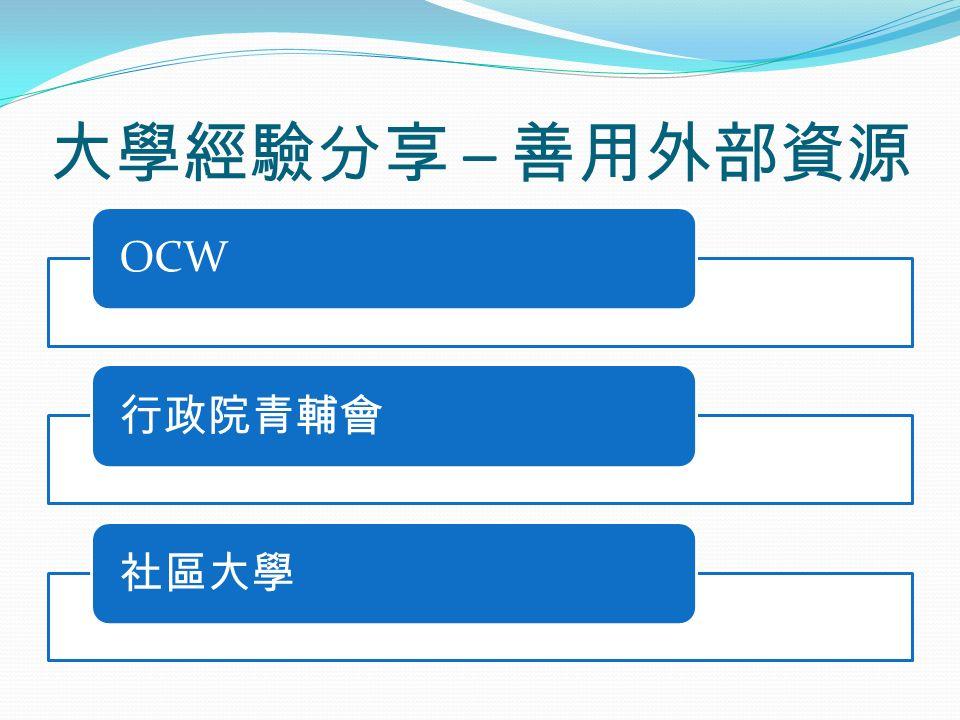 大學經驗分享 – 善用外部資源 OCW 行政院青輔會社區大學