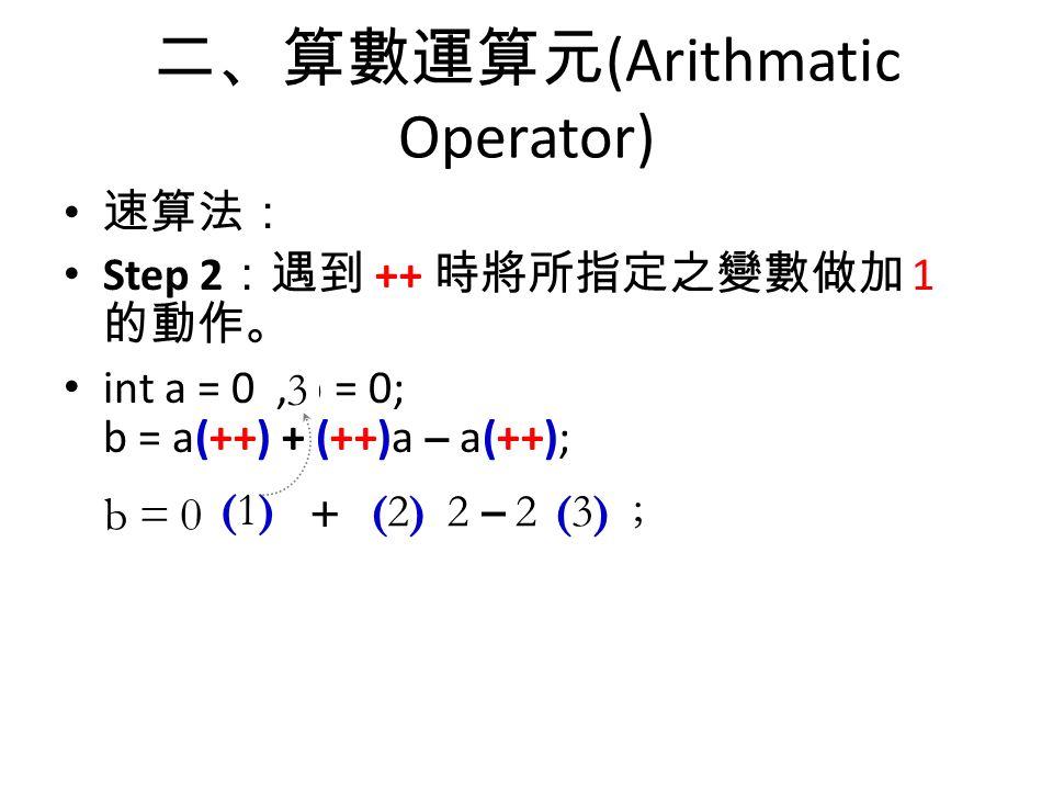 二、算數運算元 (Arithmatic Operator) 速算法: Step 2 :遇到 ++ 時將所指定之變數做加 1 的動作。 int a = 0, b = 0; b = a(++) + (++)a – a(++); b =0 (1)(1) + –(2)(2)22(3)(3) ; 123