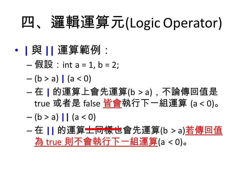 四、邏輯運算元 (Logic Operator) | 與 || 運算範例: – 假設: int a = 1, b = 2; – (b > a) | (a < 0) – 在 | 的運算上會先運算 (b > a) ,不論傳回值是 true 或者是 false 皆會執行下一組運算 (a < 0) 。 – (b > a) || (a < 0) – 在 || 的運算上同樣也會先運算 (b > a) 若傳回值 為 true 則不會執行下一組運算 (a < 0) 。