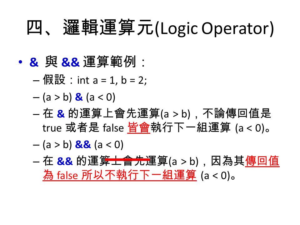 四、邏輯運算元 (Logic Operator) & 與 && 運算範例: – 假設: int a = 1, b = 2; – (a > b) & (a < 0) – 在 & 的運算上會先運算 (a > b) ,不論傳回值是 true 或者是 false 皆會執行下一組運算 (a < 0) 。 – (a > b) && (a < 0) – 在 && 的運算上會先運算 (a > b) ,因為其傳回值 為 false 所以不執行下一組運算 (a < 0) 。