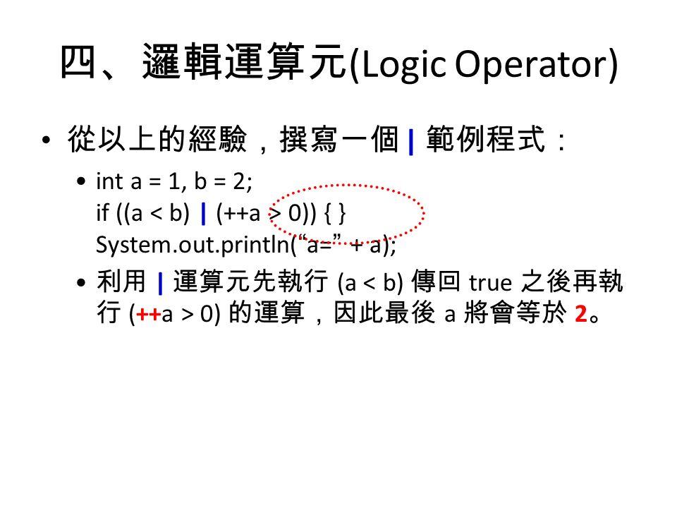 四、邏輯運算元 (Logic Operator) 從以上的經驗,撰寫一個 | 範例程式: int a = 1, b = 2; if ((a 0)) { } System.out.println( a= + a); 利用 | 運算元先執行 (a 0) 的運算,因此最後 a 將會等於 2 。