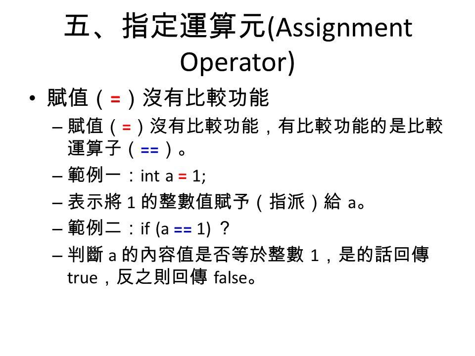 五、指定運算元 (Assignment Operator) 賦值( = )沒有比較功能 – 賦值( = )沒有比較功能,有比較功能的是比較 運算子( == )。 – 範例一: int a = 1; – 表示將 1 的整數值賦予(指派)給 a 。 – 範例二: if (a == 1) ? – 判斷 a 的內容值是否等於整數 1 ,是的話回傳 true ,反之則回傳 false 。