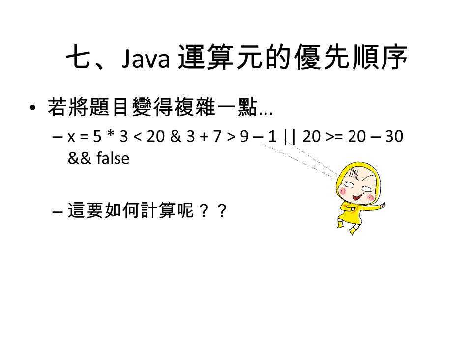 七、 Java 運算元的優先順序 若將題目變得複雜一點... – x = 5 * 3 9 – 1 || 20 >= 20 – 30 && false – 這要如何計算呢??