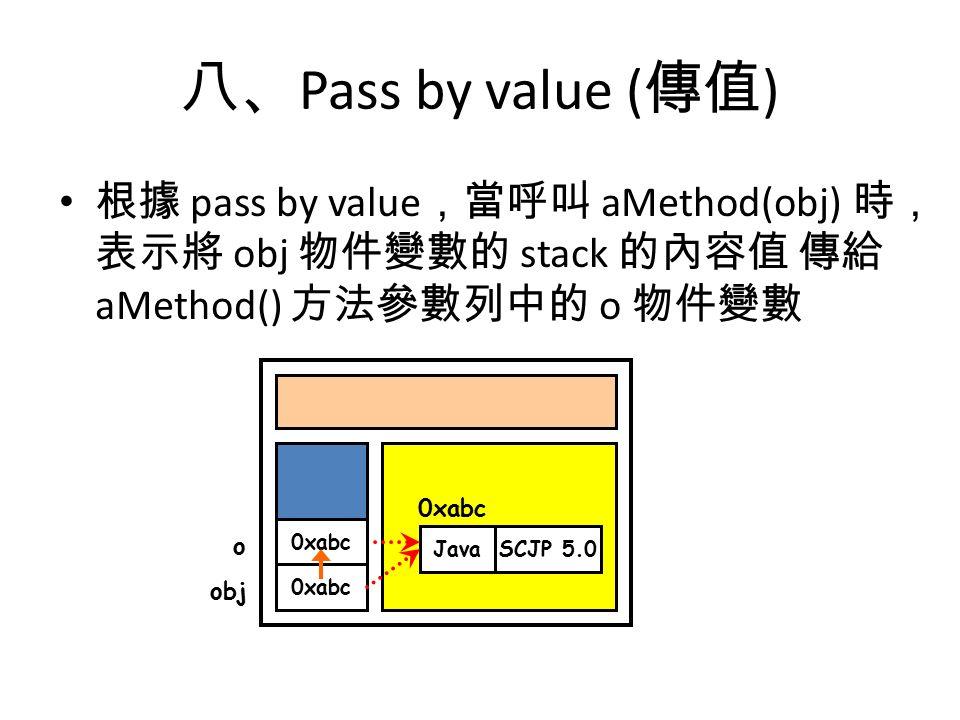 八、 Pass by value ( 傳值 ) 根據 pass by value ,當呼叫 aMethod(obj) 時, 表示將 obj 物件變數的 stack 的內容值 傳給 aMethod() 方法參數列中的 o 物件變數 0xabc objo JavaSCJP 5.0 0xabc