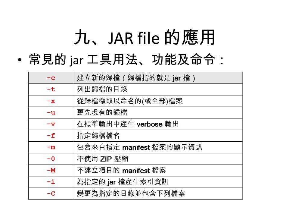 九、 JAR file 的應用 常見的 jar 工具用法、功能及命令: -c 建立新的歸檔(歸檔指的就是 jar 檔) -t 列出歸檔的目錄 -x 從歸檔擷取以命名的 ( 或全部 ) 檔案 -u 更先現有的歸檔 -v 在標準輸出中產生 verbose 輸出 -f 指定歸檔檔名 -m 包含來自指定 manifest 檔案的顯示資訊 -0 不使用 ZIP 壓縮 -M 不建立項目的 manifest 檔案 -i 為指定的 jar 檔產生索引資訊 -C 變更為指定的目錄並包含下列檔案