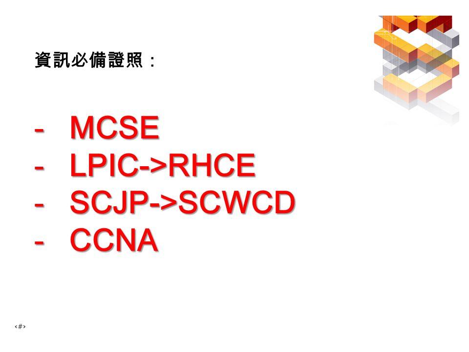 資訊必備證照: -MCSE -LPIC->RHCE -SCJP->SCWCD -CCNA