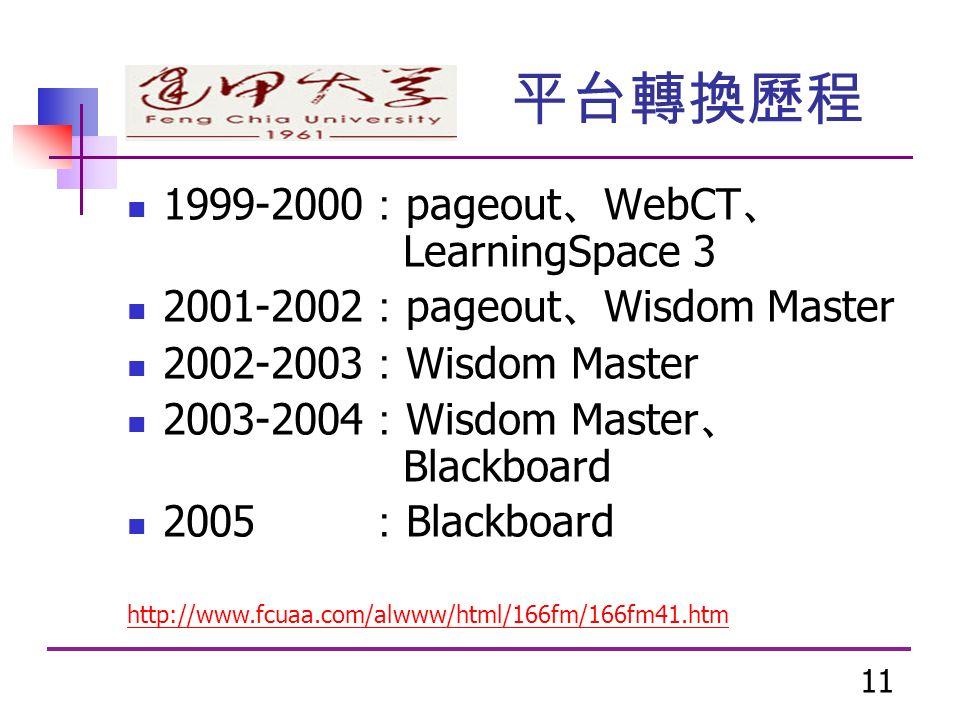 11 1999-2000 : pageout 、 WebCT 、 LearningSpace 3 2001-2002 : pageout 、 Wisdom Master 2002-2003 : Wisdom Master 2003-2004 : Wisdom Master 、 Blackboard 2005 : Blackboard http://www.fcuaa.com/alwww/html/166fm/166fm41.htm 平台轉換歷程
