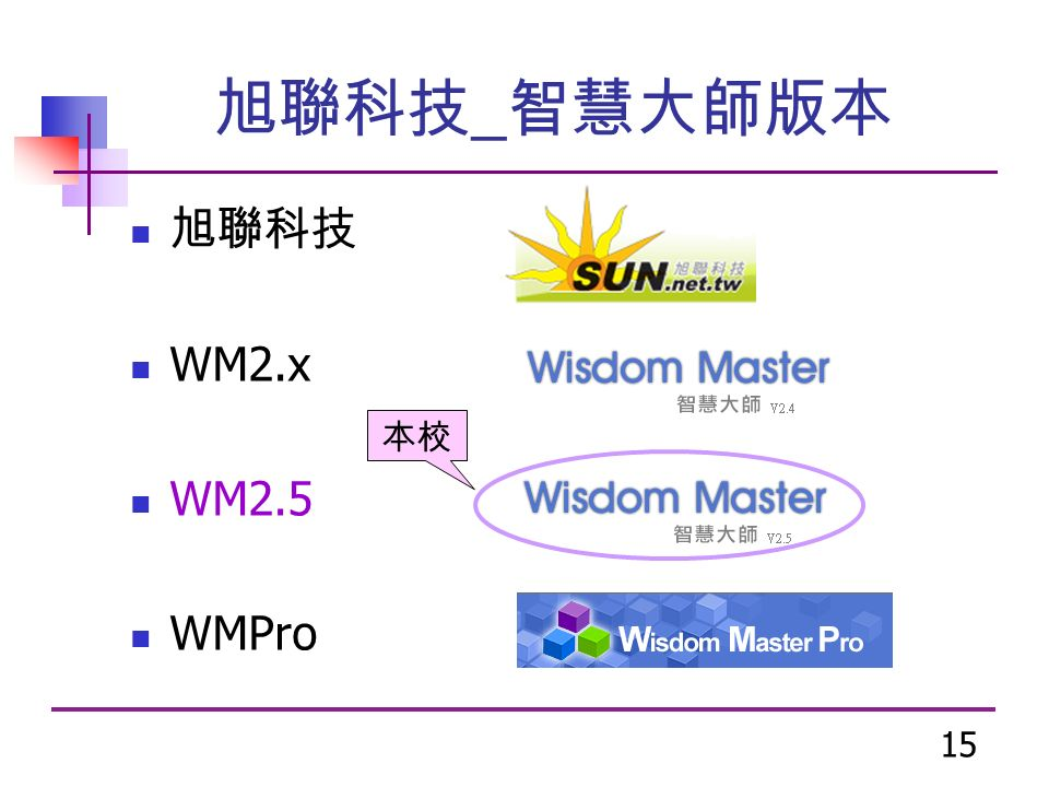 15 旭聯科技 _ 智慧大師版本 旭聯科技 WM2.x WM2.5 WMPro 本校