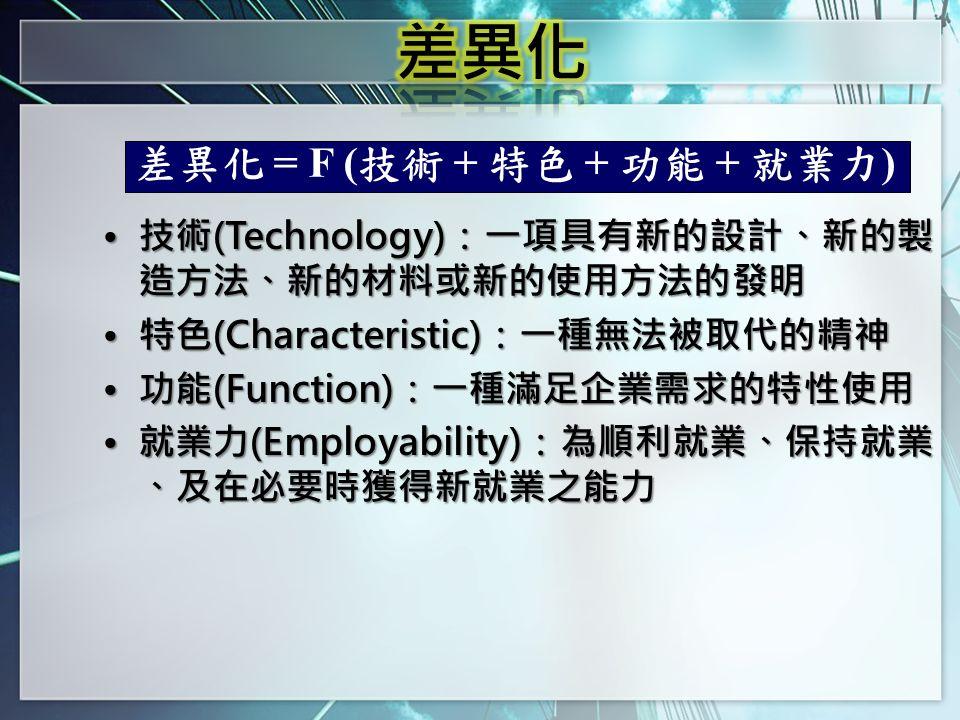 技術(Technology):一項具有新的設計、新的製 造方法、新的材料或新的使用方法的發明 技術(Technology):一項具有新的設計、新的製 造方法、新的材料或新的使用方法的發明 特色(Characteristic):一種無法被取代的精神 特色(Characteristic):一種無法被取代的精神 功能(Function):一種滿足企業需求的特性使用 功能(Function):一種滿足企業需求的特性使用 就業力(Employability):為順利就業、保持就業 、及在必要時獲得新就業之能力 就業力(Employability):為順利就業、保持就業 、及在必要時獲得新就業之能力 差異化 = F ( 技術 + 特色 + 功能 + 就業力 )