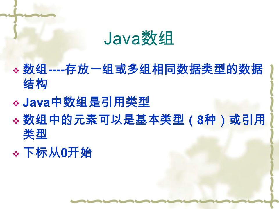 Java 数组  数组 ---- 存放一组或多组相同数据类型的数据 结构  Java 中数组是引用类型  数组中的元素可以是基本类型( 8 种)或引用 类型  下标从 0 开始