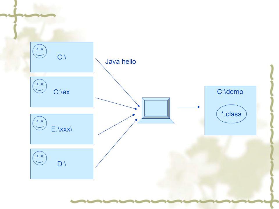 C:\C:\exE:\xxx\D:\ C:\demo *.class Java hello