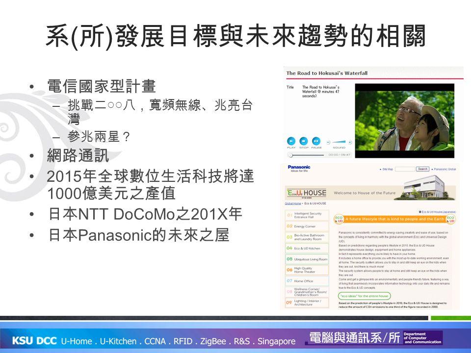 系 ( 所 ) 發展目標與未來趨勢的相關 電信國家型計畫 – 挑戰二○○八,寬頻無線、兆亮台 灣 – 參兆兩星? 網路通訊 2015 年全球數位生活科技將達 1000 億美元之產值 日本 NTT DoCoMo 之 201X 年 日本 Panasonic 的未來之屋