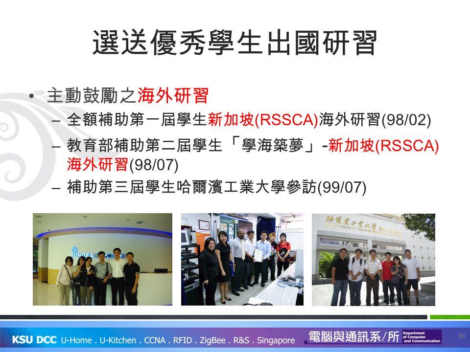 選送優秀學生出國研習 主動鼓勵之海外研習 – 全額補助第一屆學生新加坡 (RSSCA) 海外研習 (98/02) – 教育部補助第二屆學生 「 學海築夢 」 - 新加坡 (RSSCA) 海外研習 (98/07) – 補助第三屆學生哈爾濱工業大學參訪 (99/07) 36