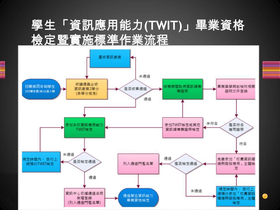 學生「資訊應用能力 (TWIT) 」畢業資格 檢定暨實施標準作業流程