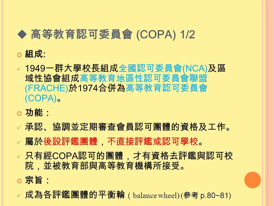  高等教育認可委員會 (COPA) 1/2 組成 : 1949 一群大學校長組成全國認可委員會 (NCA) 及區 域性協會組成高等教育地區性認可委員會聯盟 (FRACHE) 於 1974 合併為高等教育認可委員會 (COPA) 。 功能: 承認、協調並定期審查會員認可團體的資格及工作。 屬於後設評鑑團體,不直接評鑑或認可學校。 只有經 COPA 認可的團體,才有資格去評鑑與認可校 院,並被教育部與高等教育機構所接受。 宗旨: 成為各評鑑團體的平衡輪 ( balance wheel) ( 參考 p.80~81)