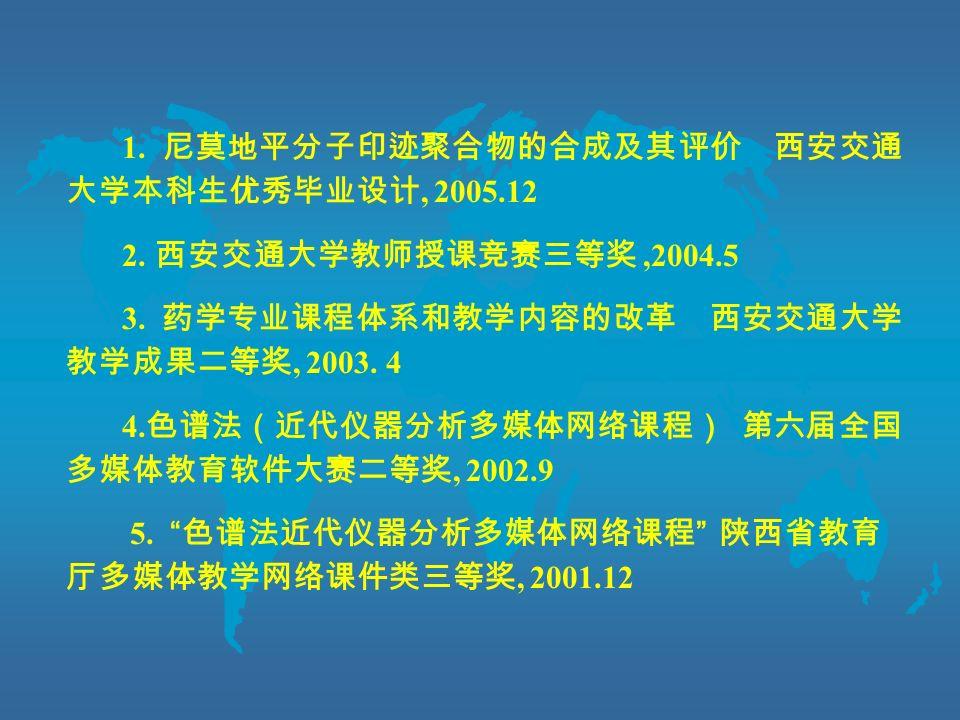 1. 尼莫地平分子印迹聚合物的合成及其评价 西安交通 大学本科生优秀毕业设计, 2005.12 2.