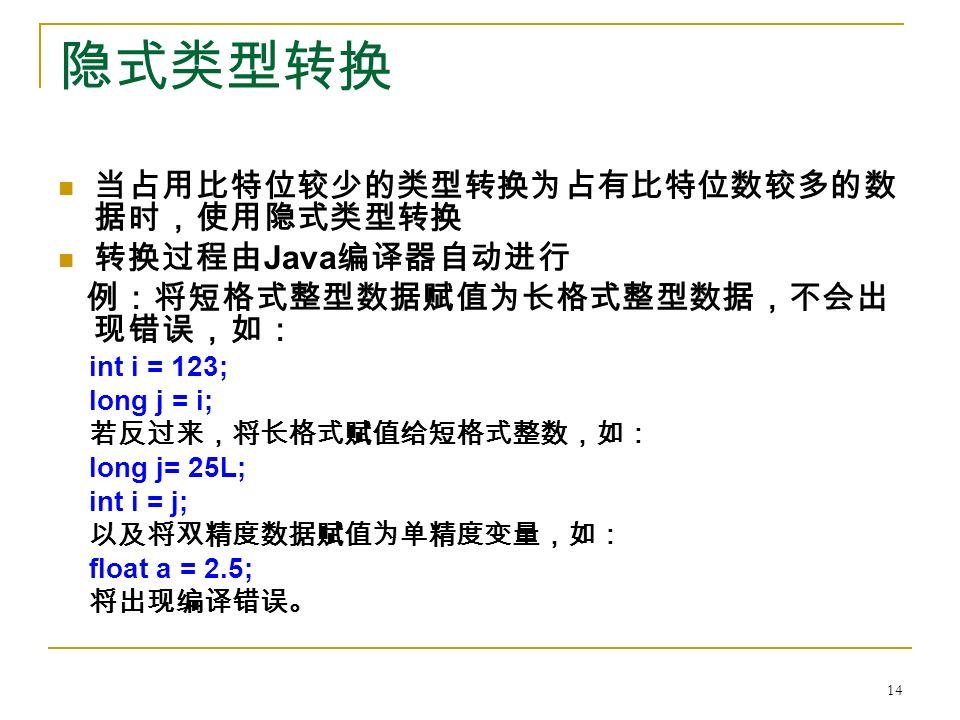 隐式类型转换 当占用比特位较少的类型转换为占有比特位数较多的数 据时,使用隐式类型转换 转换过程由 Java 编译器自动进行 例:将短格式整型数据赋值为长格式整型数据,不会出 现错误,如: int i = 123; long j = i; 若反过来,将长格式赋值给短格式整数,如: long j= 25L; int i = j; 以及将双精度数据赋值为单精度变量,如: float a = 2.5; 将出现编译错误。 14