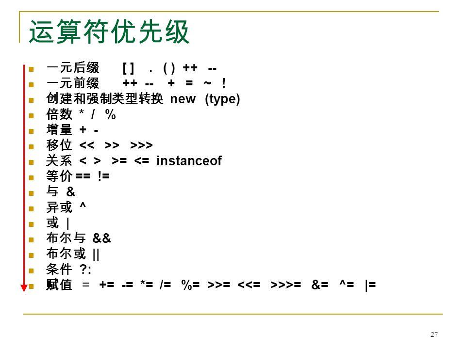 运算符优先级 一元后缀 [ ]. ( ) ++ -- 一元前缀 ++ -- + = ~ .