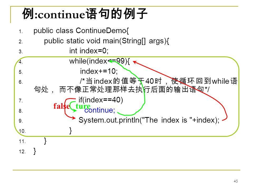 例 :continue 语句的例子 1. public class ContinueDemo{ 2.