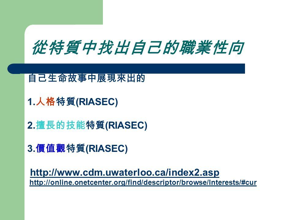 從特質中找出自己的職業性向 自己生命故事中展現來出的 1. 人格特質 (RIASEC) 2. 擅長的技能特質 (RIASEC) 3.